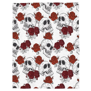 Red Roses Skull Throw Warm Microfiber Blanket - Skull Clothing and Accessories Skull only Merchandise