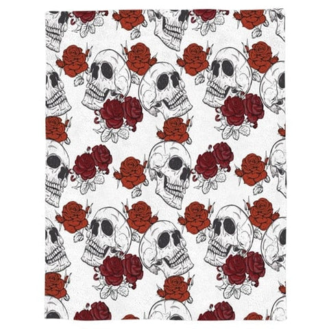 Red Roses Skull Throw Warm Microfiber Blanket