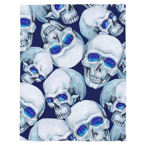 Blue Eyes Skulls Throw Warm Microfiber Blanket - Skull Clothing and Accessories Skull only Merchandise