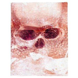 Pink Scary Skull Throw Warm Microfiber Blanket