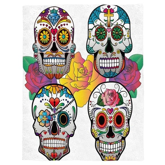 Four Colorful Skulls Throw Warm Microfiber Blanket - Skull Clothing and Accessories Skull only Merchandise