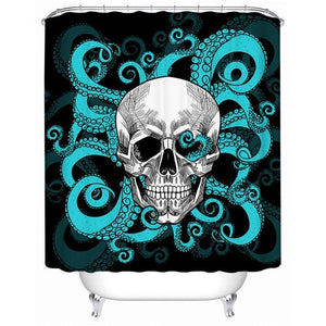 Skull Waterproof Octopus Tentacles Hand Shower Curtain - Skull Clothing and Accessories Skull only Merchandise
