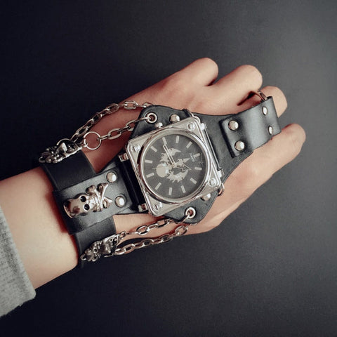 Punk Skull Black Leather Bracelet Wrist Watch with 50 mm Wide Band - Skull Clothing and Accessories Skull only Merchandise