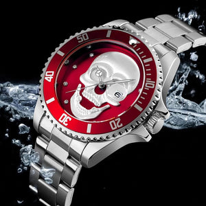 Men's Stainless Steel Quartz Skull Watch - Skull Clothing and Accessories Skull only Merchandise