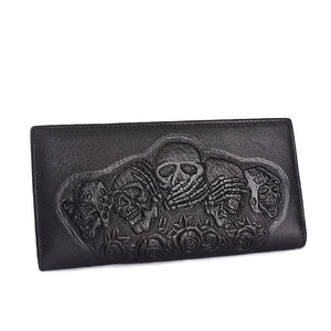 Genuine Leather Skull Wallet Vintage Clutch Bag - Skull Clothing and Accessories Skull only Merchandise