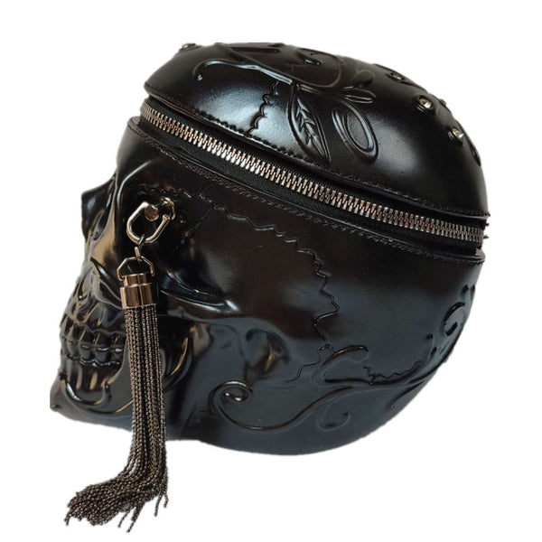 Skull Head Black Shoulder Cross body Messenger Bag - Skull Clothing and Accessories Skull only Merchandise