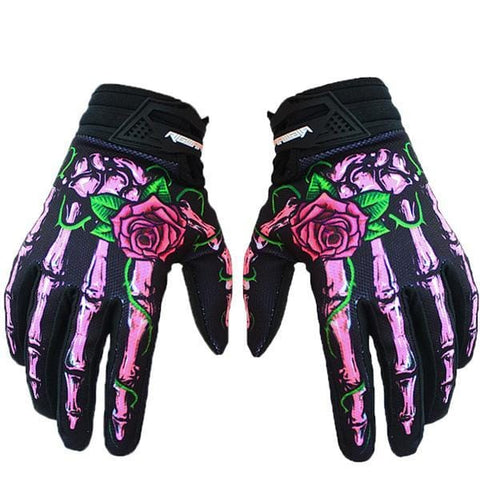 Skull Cycling Gloves Full Finger Silica Gel MTB Bike Gloves
