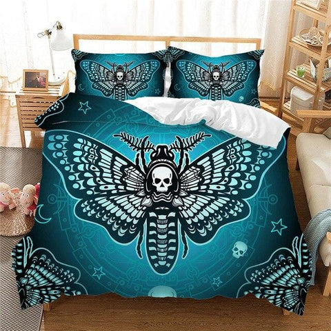 Skull Butterfly Duvet Cover Set 3 Piece Bedding Set - Skull Clothing and Accessories Skull only Merchandise
