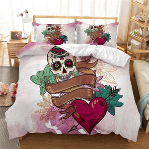 Skull Heart Duvet Cover Set 3 Piece Bedding Set