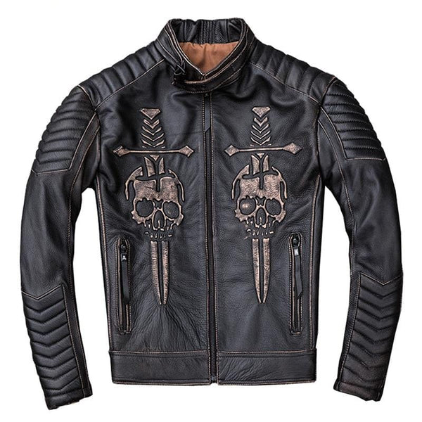 Vintage Distressed Motorcycle Jacket Men's Skull Leather Jacket - Skull Clothing and Accessories Skull only Merchandise