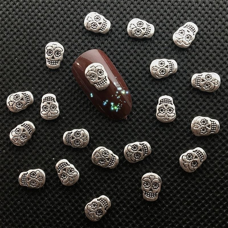 10Pcs Silver Skull Nail Art Decorations - Skull Clothing and Accessories Skull only Merchandise