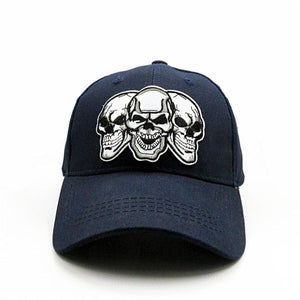 Skull Embroidery Cotton Baseball Cap Adjustable Snapback - Skull Clothing and Accessories Skull only Merchandise