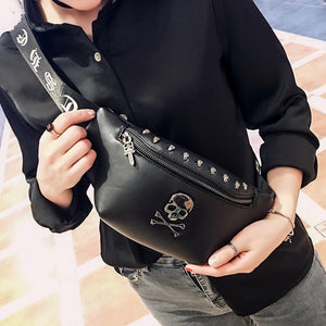 Rock Skull Unisex Rivet Luxury Black Fanny Pack Leather - Skull Clothing and Accessories Skull only Merchandise