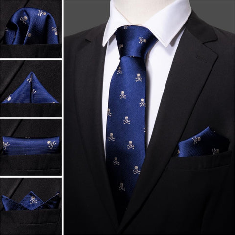 Navy Skull Men Tie Set 8.5cm Silk Handkerchief For Men - Skull Clothing and Accessories Skull only Merchandise