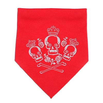 Rose Crown Skull Adjustable Bandanna Pet Scarf - Skull Clothing and Accessories Skull only Merchandise
