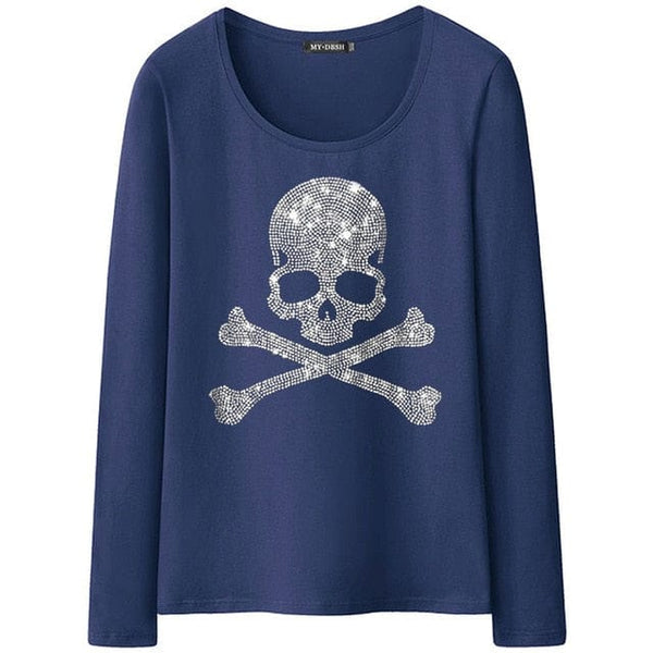 Skull Diamonds Long Sleeve Gothic T-shirt - Skull Clothing and Accessories Skull only Merchandise