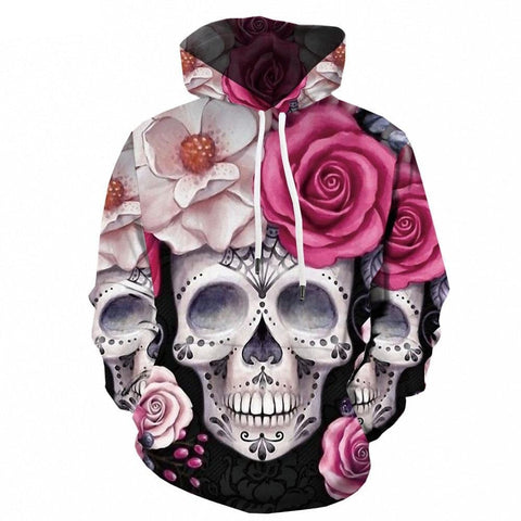 Skull Colorful Printed Punk Rock Hooded Casual Pullover - Skull Clothing and Accessories Skull only Merchandise