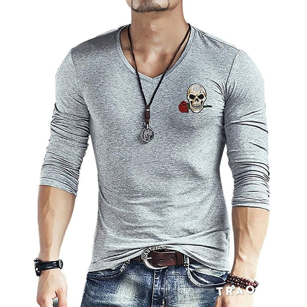 Skull Embroidery  Long Sleeve V Neck Casual T-Shirt - Skull Clothing and Accessories Skull only Merchandise