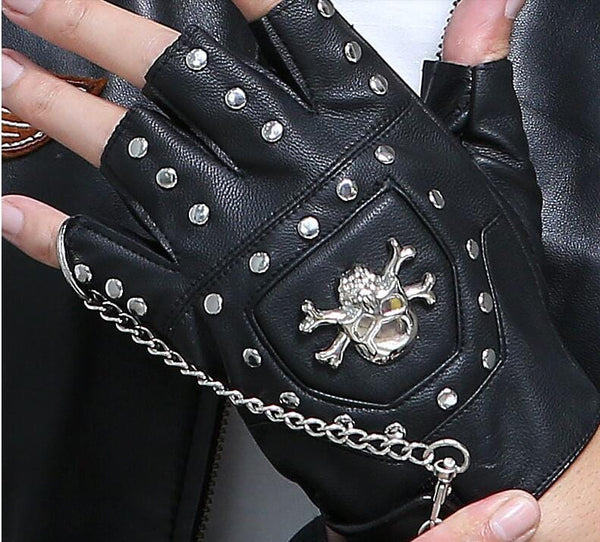 Punk Rivet Skull Half finger gloves - Skull Clothing and Accessories Skull only Merchandise