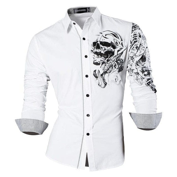 Casual Long Sleeve Slim Fit Stylish Skull Print Dress Shirt - Skull Clothing and Accessories Skull only Merchandise