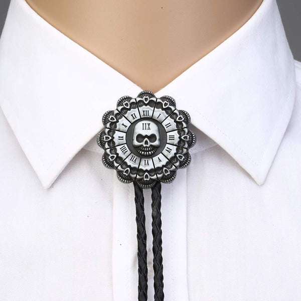 Skull Head Sunflower Bolo Tie Leather Rope Necktie - Skull Clothing and Accessories Skull only Merchandise
