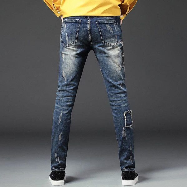 Skull Embroidery Holes Men Slim Jeans - Skull Clothing and Accessories Skull only Merchandise