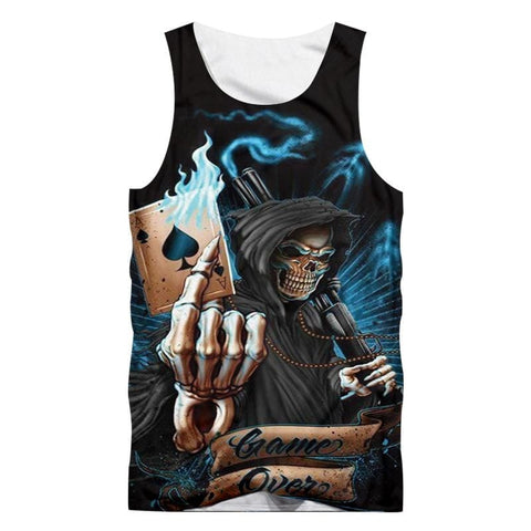 Men's Printed Skull Casual Sleeveless Tank Top - Skull Clothing and Accessories Skull only Merchandise