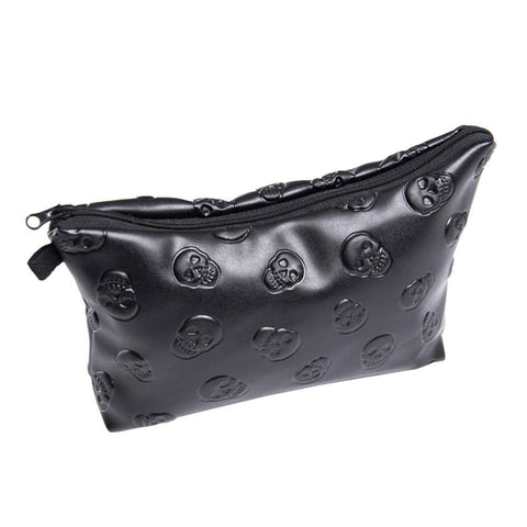 Black Skull 3D Print Leather Makeup Bag - Skull Clothing and Accessories Skull only Merchandise