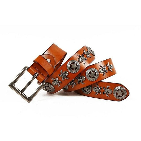 Skull Cowhide Leather Pin Buckle Belts For Men - Skull Clothing and Accessories Skull only Merchandise