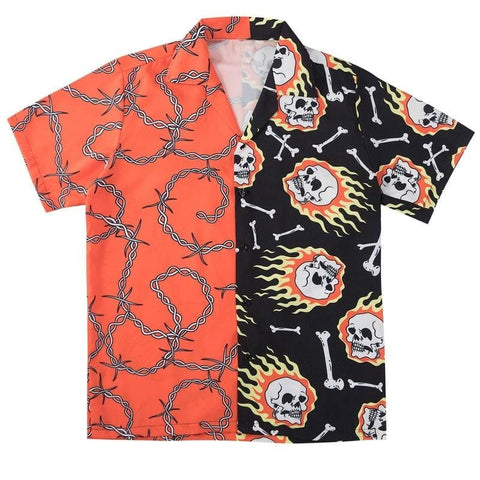 Skull Chain Print Hawaiian Casual Short Sleeve Button Down Shirt - Skull Clothing and Accessories Skull only Merchandise