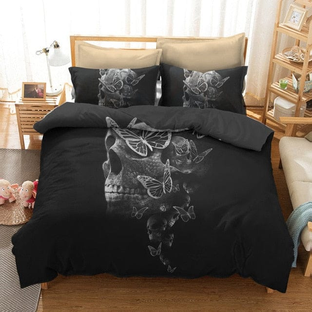 Skull Butterfly Duvet Cover With Pillowcase Digital Printing