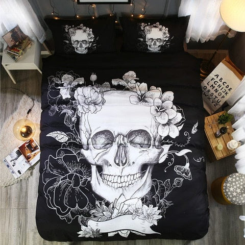 Skull Flower Duvet Cover With Pillowcase Digital Printing
