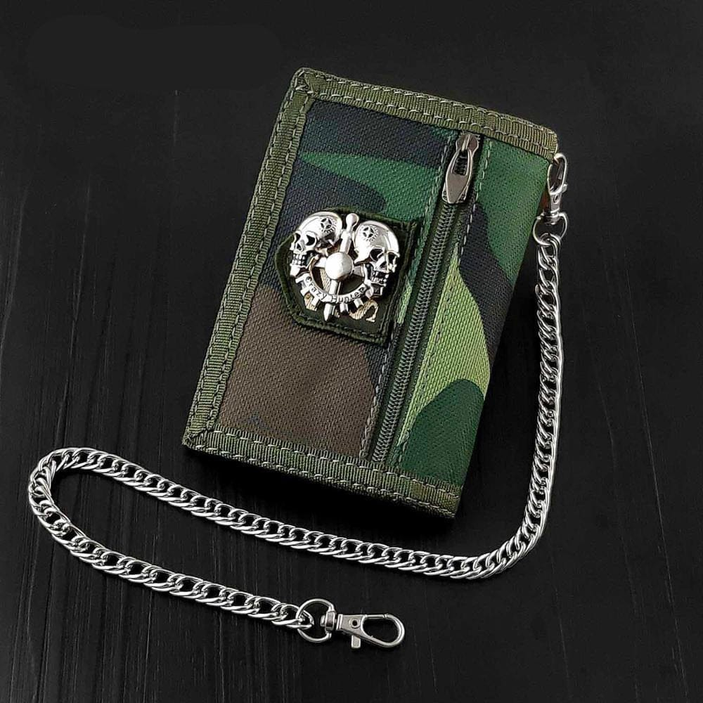 Skull Canvas Trifold Card Holder Wallet With safe Chain - Skull Clothing and Accessories Skull only Merchandise