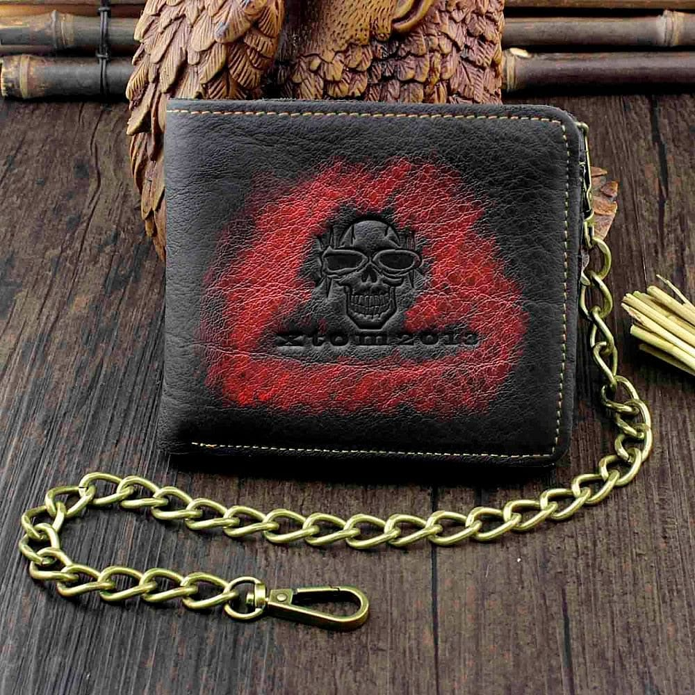 Vintage Skull Men's Real Leather Punk Biker Wallet With a Chain - Skull Clothing and Accessories Skull only Merchandise