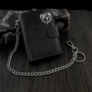 Men's Genuine Leather Snap Skull Biker Wallet with Safe Chain - Skull Clothing and Accessories Skull only Merchandise