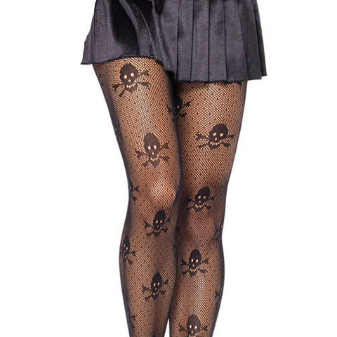 Women Sheer Fish Net Skull Stretch Stockings - Skull Clothing and Accessories Skull only Merchandise