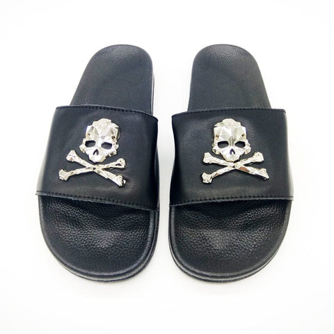 Women's Cow Leather Sandals Black Skull Flip-flops - Skull Clothing and Accessories Skull only Merchandise