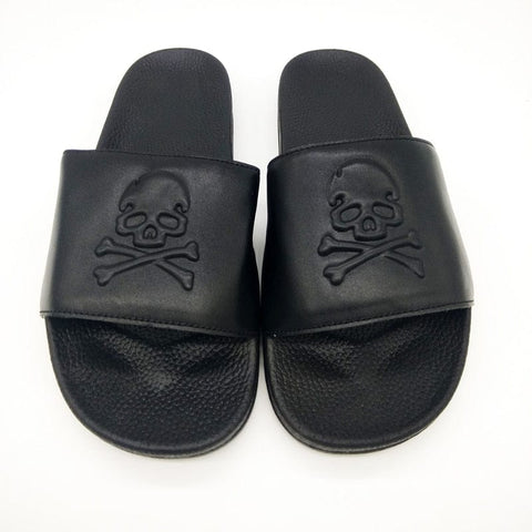 Men's Beach Cowhide Black Skull Casual Flip Flops - Skull Clothing and Accessories Skull only Merchandise