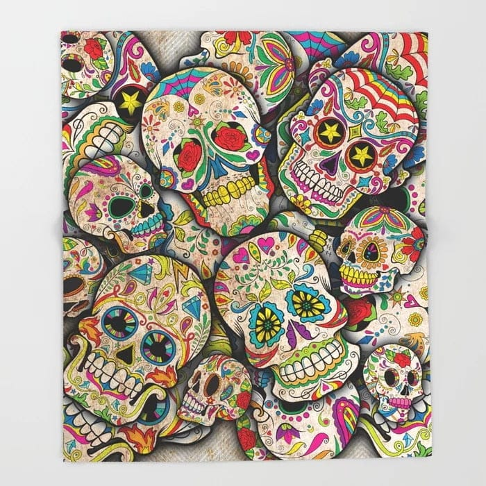 Sugar Skull Fleece Blanket and Throw Blanket for Beds - Skull Clothing and Accessories Skull only Merchandise