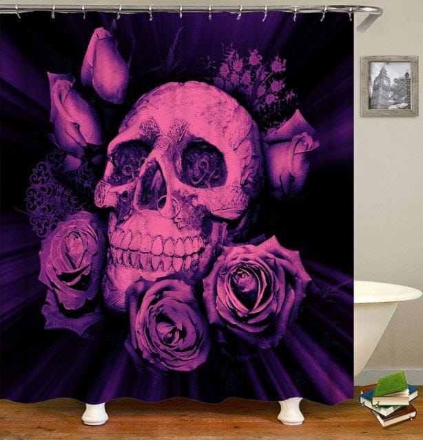 Flower Skull Print Waterproof Washable Bathroom Curtain - Skull Clothing and Accessories Skull only Merchandise
