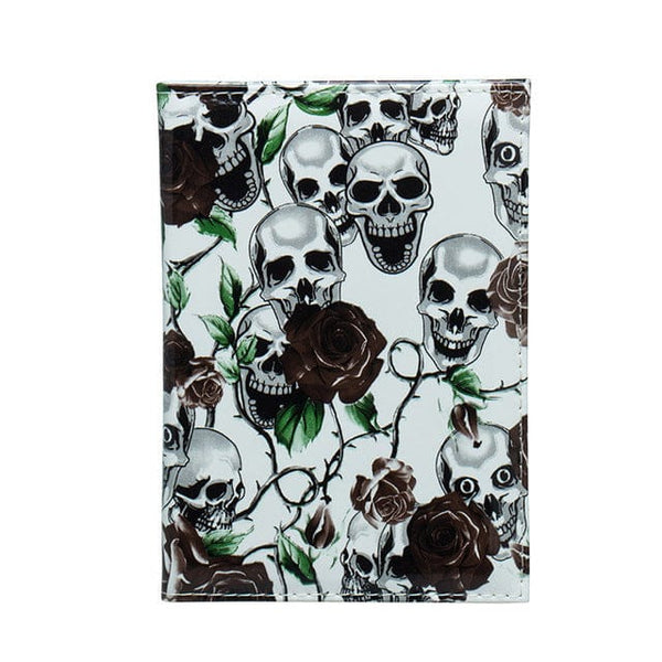 Fresh Flowers Skull Passport Wallet Travel Accessories - Skull Clothing and Accessories Skull only Merchandise