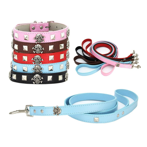 Skull Square Spike Collar Traction Rope Set - Skull Clothing and Accessories Skull only Merchandise