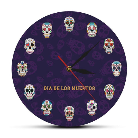 Mexican Skull Wall Clock - Skull Clothing and Accessories Skull only Merchandise