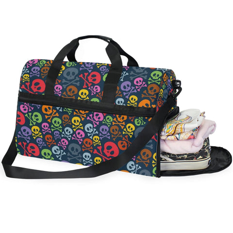 Skull Cross Bones Canvas Gym, Sport, Outdoor Large Pocket Casual Tote Shoulder Bag