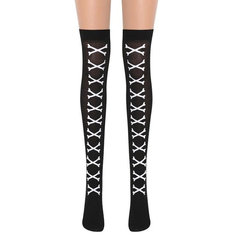 Skull Bones Printed Pattern Gothic Over The Knee Stockings