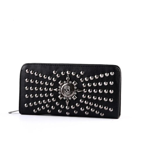 Women Luxury Long Wallets Leather Vintage Skull And Rivets