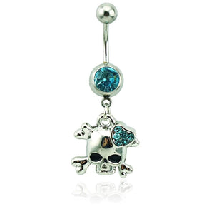 Belly Button Ring Surgical Steel Dangle Rhinestone Heart Skull 💀