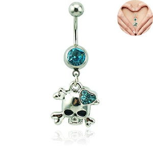 Belly Button Ring Surgical Steel Dangle Rhinestone Heart Skull 💀 - Skull Clothing and Accessories Skull only Merchandise