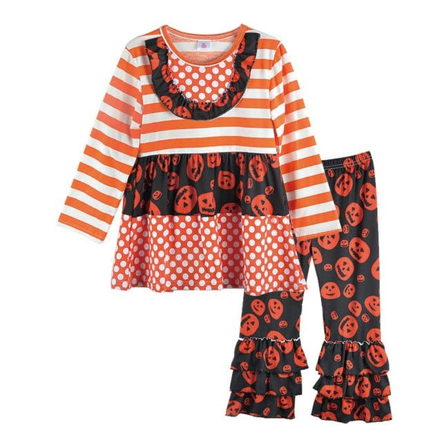 Orange Striped Decoration Round Neck Top Skull pattern Outfit - Skull Clothing and Accessories Skull only Merchandise