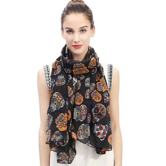 47dec679e404c Day of the Dead Multicolored Sugar Skull Print Women's Large Scarf Shawl  Wrap Soft Lightweight for